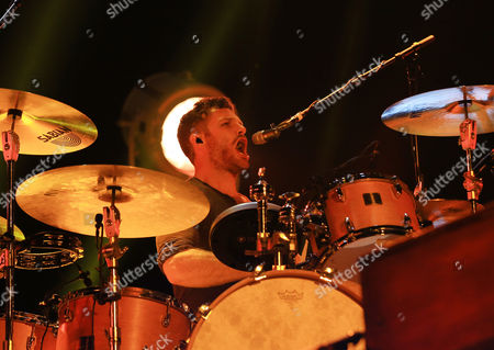 Musician Ben Wysocki of The Fray performs at the Independence Events Center in Independence, Mo. on