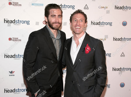 Actor Jake Gyllenhaal, left, and Chairman of Headstrong Project Zach Iscol, right, attend The Headstrong Project Words Of War event on in New York