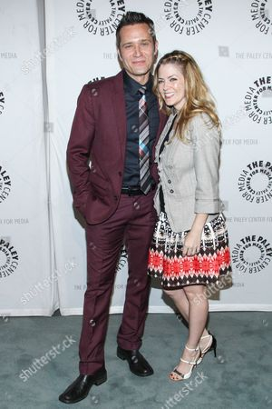"""Actor Seamus Dever and wife / actress Juliana Dever arrive at the The Paley Center For Media presents The Wait Is Over: """"Castle"""" is Back on in Beverly Hills, Calif"""