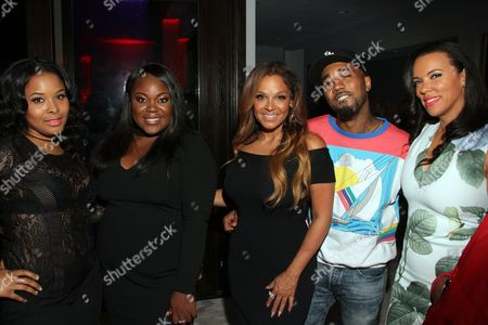 """From left, Mechelle Epps, TSR founder Angelica Nwandu, Sheree Fletcher, hip hop artist Problem and chef Shamicka Lawrence seen at The Shade Room's """"Shades of Eden"""" 1st Anniversary Celebration at a private mansion on Saturday, June 4th, 2016, in Los Angeles, California"""