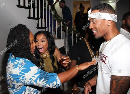 "From left, Torrei Hart, Karlie Redd and Miles Brock seen at The Shade Room's ""Shades of Eden"" 1st Anniversary Celebration at a private mansion on Saturday, June 4th, 2016, in Los Angeles, California"