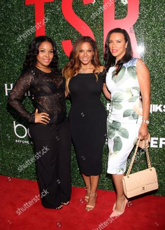 """From left, Michelle Epps, Sheree Fletcher and chef Shamicka Lawrence seen at The Shade Room's """"Shades of Eden"""" 1st Anniversary Celebration at a private mansion on Saturday, June 4th, 2016, in Los Angeles, California"""