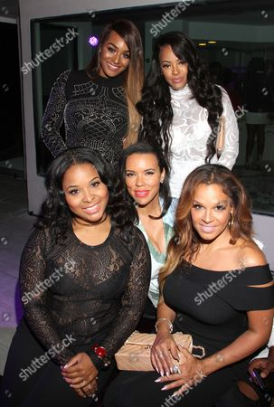 """From left, Mechelle Epps, chef Shamicka Lawrence, Sheree Fletcher, Brandi Maxiell, Malaysia Pargo seen at The Shade Room's """"Shades of Eden"""" 1st Anniversary Celebration at a private mansion on Saturday, June 4th, 2016, in Los Angeles, California"""