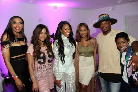 """From left, Rhonda Willis, Rosa Acosta, Malaysia Pargo, Miss Diddy, Sincere Show and rapper Bre-Z seen at The Shade Room's """"Shades of Eden"""" 1st Anniversary Celebration at a private mansion on Saturday, June 4th, 2016, in Los Angeles, California"""
