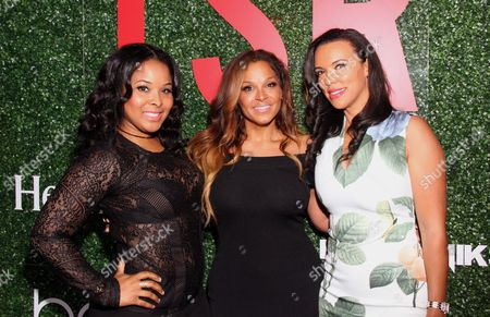 """Stock Image of From left, Michelle Epps, Sheree Fletcher and chef Shamicka Lawrence seen at The Shade Room's """"Shades of Eden"""" 1st Anniversary Celebration at a private mansion on Saturday, June 4th, 2016, in Los Angeles, California"""