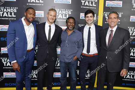 Ser'Darius Blain, Alexander Ludwig Director Thomas Carter, Matthew Daddario and Jim Caviezel seen at The World Premiere of Tri Star Pictures' 'When The Game Stands Tall' at ArcLight Cinemas Hollywood, in Los Angeles