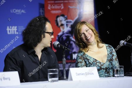 "From left, producer Damien Echols and producer Lorri Davis participate in a photo call and press conference for the film ""West of Memphis"" at TIFF Bell Lightbox during the Toronto International Film Festival on in Toronto"