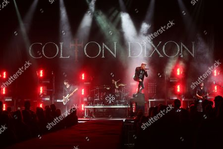 """Artist Colton Dixon performing on the final night of TobyMac's """"This Is Not A Test"""" tour at Bridgestone Arena on in Nashville, Tenn"""