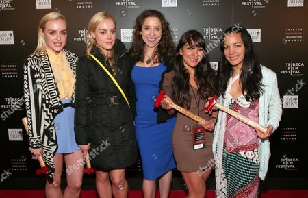 Stock Photo of From left, entrepreneurs Kim McClay, Alexis McClay, Antonia Dunbar, Radha Agrawal and Miki Agrawal attend the Tribeca Disruptive Innovation Awards at the New York University Stern School of Business on in New York