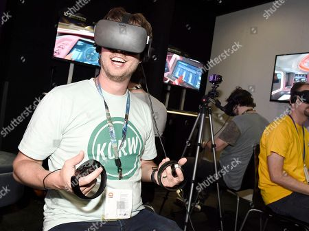 IMAGE DISTRIBUTED FOR UBISOFT - Jon Heder playing Star Trek: Bridge Crew at Ubisoft E3 2016 - Day 3 at the Los Angeles Convention Center, in Los Angeles