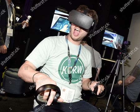 Jon Heder playing Star Trek: Bridge Crew at Ubisoft E3 2016 - Day 3 at the Los Angeles Convention Center, in Los Angeles
