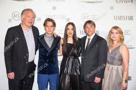 Stock Photo of Jonathan Sehring, Ellar Coltrane, Lorelei Linklater, Richard Linklater and Cathleen Sutherland attend the Vanity Fair and Chrysler Celebrate Richard Linklater and the cast of Boyhood, in West Hollywood, CA