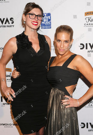 Sarah Michael Novia and Dr. Jenn Berman attend the VH1 Divas After Party to benefit VH1 Save the Music Foundation presented by William Hill Estate Winery, Raymond Weil and Monster DNA Headphones, on in Los Angeles