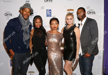 McKinley Freeman, Taylour Paige, Logan Browning, Katherine Bailess and Rob Riley attend the VH1 Divas After Party to benefit VH1 Save the Music Foundation presented by William Hill Estate Winery, Raymond Weil and Monster DNA Headphones, on in Los Angeles