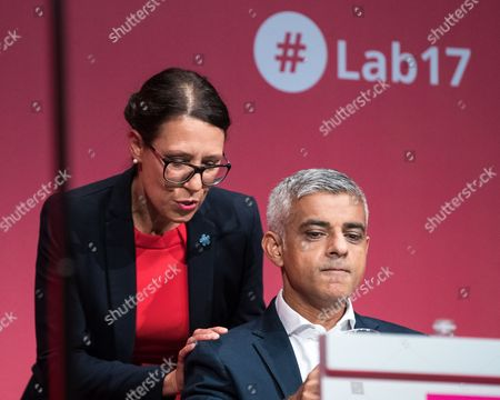 Debbie Abrahams and Sadiq Khan on the stage at The Labour Party Conference at The Brighton Centre.