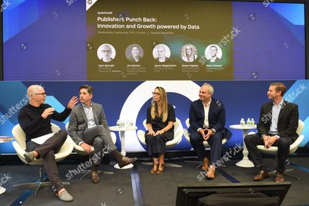 Stock Image of Sam Barnett (SVP, Publisher, Quantcast), Jim Norton (Chief Business Officer, President of Revenue, Conde Nast), Susan Kaplow (Chief Content Officer, Apartment Therapy Media), Jason Wagenheim (CRO, Bustle) and Mark Howard (CRO, Forbes Media)