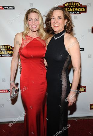 """Actress Marin Mazzie, left, and Karen Ziemba attend the after party for the opening night of """"Bullets Over Broadway"""" at The Metropolitan Museum of Art on in New York"""