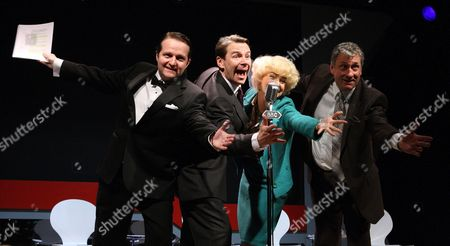 Stock Picture of Charles Armstrong as Douglas Smith, Robin Sebastian as Kenneth Williams, Emma Atkins as Joan Sims and Nigel Harrison as Hugh Paddick