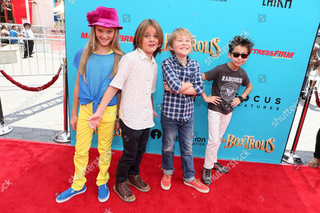 """Lizzy Greene, Mace Coronel, Casey Simpson and Aidan Gallagher seen at """"THE BOXTROLLS"""" LOS ANGELES PREMIERE Presented by LAIKA AND FOCUS FEATURES To Benefit the Imagination Foundation, in Universal City, Calif"""