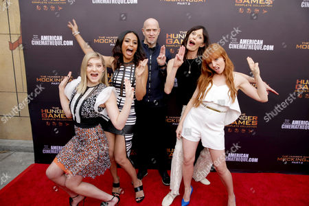 "Stock Photo of Willow Shields, Meta Golding, Bruno Gunn, Eugenie Bondurant and Stef Dawson seen at ""The Hunger Games"" Fan Marathon at The Egyptian Theatre, in Los Angeles, CA"
