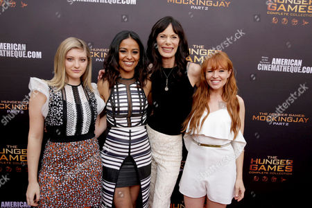"Willow Shields, Meta Golding, Eugenie Bondurant and Stef Dawson seen at ""The Hunger Games"" Fan Marathon at The Egyptian Theatre, in Los Angeles, CA"