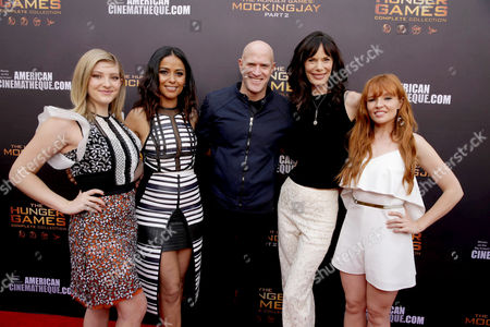 "Willow Shields, Meta Golding, Bruno Gunn, Eugenie Bondurant and Stef Dawson seen at ""The Hunger Games"" Fan Marathon at The Egyptian Theatre, in Los Angeles, CA"