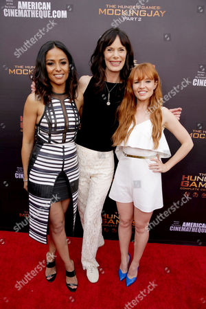 "Meta Golding, Eugenie Bondurant and Stef Dawson seen at ""The Hunger Games"" Fan Marathon at The Egyptian Theatre, in Los Angeles, CA"