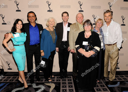 AUGUST 22: (L-R) Actors Romi Dames, Ajay Mehta, Mimi Cozzens, Bob Bergen, Governors' Appointee Conrad Bachman, Wendy Worthington, Governor, Academy of Television Arts & Sciences Kathryn Joosten and actor Fred Willard arrive at the Academy of Television Arts & Sciences 'Performers Peer Group Reception' at the Sheraton Universal Hotel on in Universal City, California