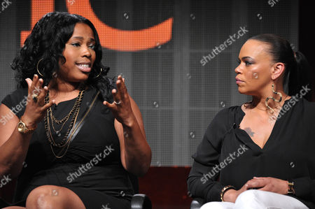 """Nicci Gilbert, left, and Faith Evans appear onstage during TVOne's TCA panel for """"R&B Divas"""" at the Beverly Hilton hotel, in Beverly Hills, Calif"""