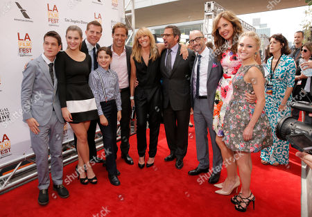 Liam James, Zoe Levin, producer Kevin J. Walsh, actor River Alexander, Nat Faxon, Toni Collette, Steve Carell, Jim Rash, Allison Janney and AnnaSophia Robb attend the premiere of Fox Searchlight Pictures' 'The Way, Way Back' after party at L.A. Live Event Deck on in Los Angeles