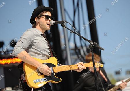 Keith Jeffery, of musical group Atlas Genius, performs at the mtvU Woodie Awards, in Austin, Texas