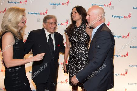 Susan Benedetto, Tony Bennett, Emma Heming and Bruce Willis attend the 8th Annual Exploring The Arts Gala benefit at Cipriani 42nd Street, in New York