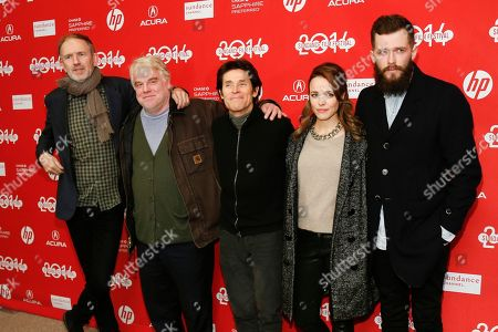 """From left to right, Director Anton Corbijn and cast members Philip Seymour Hoffman, Willem Dafoe, Rachel McAdams and Grigoriy Dobrygin pose together at the premiere of the film """"A Most Wanted Man"""" during the 2014 Sundance Film Festival, on in Park City, Utah"""