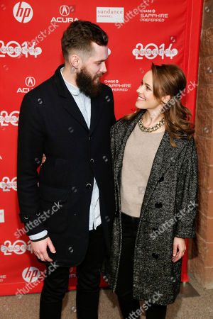 """Cast members Grigoriy Dobrygin, left, and Rachel McAdams, right, poses together at the premiere of the film """"A Most Wanted Man"""" during the 2014 Sundance Film Festival, on in Park City, Utah"""