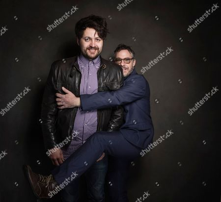 Maxim Pozdorovkin and Tony Gerber pose for a portrait at Quaker Good Energy Lodge with GenArt and the Collective, during the Sundance Film Festival, on in Park City, Utah