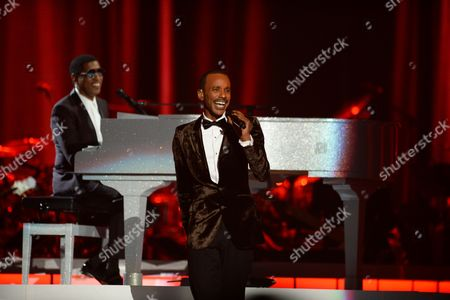 Stock Picture of Kenny 'Babyface' Edmonds and Tevin Campell perform at the 2015 Soul Train Awards at the Orleans Arena on Friday, Nov. 6th, 2015, in Las Vegas