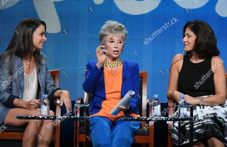 """Actor/executive producer Michele Lepe, from left, Rita Moreno and cultural consultant Homa Tavangar participate in the Sprout network's """"Nina's World"""" panel at the NBCUniversal Television Critics Association Summer Tour at the Beverly Hilton Hotel, in Beverly Hills, Calif"""