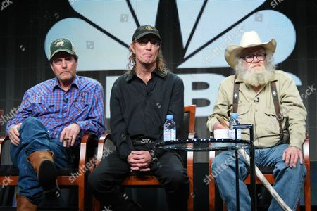 Investors Rooster McConaughey, from left, Butch Gilliam and singer/songwriter Gil Prather participate in the 'West Texas Investors Club' panel at the The NBCUniversal Television Critics Association Summer Tour at the Beverly Hilton Hotel, in Beverly Hills, Calif