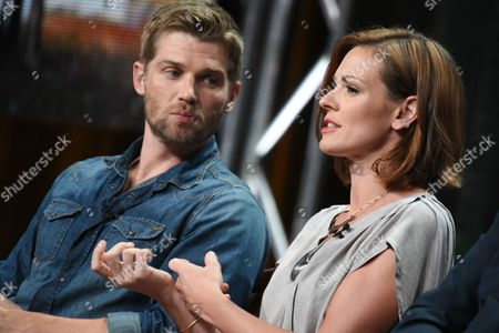 """Actors Mike Vogel, left, and Daisy Betts participate in the """"Childhood's End"""" panel at the The NBCUniversal Television Critics Association Summer Tour at the Beverly Hilton Hotel, in Beverly Hills, Calif"""