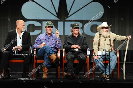 Senior Vice President of primetime alternative programming CNBC Jim Ackerman, from left, Investors Rooster McConaughey, Butch Gilliam and singer/songwriter Gil Prather participate in the 'West Texas Investors Club' panel at the The NBCUniversal Television Critics Association Summer Tour at the Beverly Hilton Hotel, in Beverly Hills, Calif