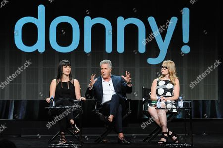 Executive producer Angie Day, from left, TV personality Donny Deutsch and actress Emily Tarver participate in the 'donny!' panel at the The NBCUniversal Television Critics Association Summer Tour at the Beverly Hilton Hotel, in Beverly Hills, Calif