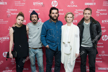 "Actress Makenzie Leigh, director Josh Mond, actor Christopher Abbott, actress Cynthia Nixon and actor David Call seen at the premiere of ""James White"" during the 2015 Sundance Film Festival, in Park City, Utah"