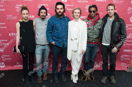 "Actress Makenzie Leigh, director Josh Mond, actor Christopher Abbott, actress Cynthia Nixon, musician/actor Kid Cudi and actor David Call seen at the premiere of ""James White"" during the 2015 Sundance Film Festival, in Park City, Utah"