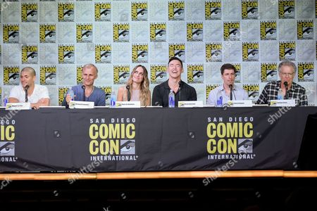 "Miguel Gomez, from left, Richard Sammel, Ruta Gedmintas, Kevin Durand, Chuck Hogan and Carlton Cuse attend the ""The Strain"" panel on day 1 of Comic-Con International, in San Diego"