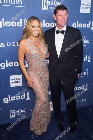 Mariah Carey and James Packer attend the 27th Annual GLAAD Media Awards at the Waldorf Astoria, in New York. The GLAAD Media Awards recognize and honor media for their fair, accurate and inclusive representations of the lesbian, gay, bisexual and transgender (LGBT) community
