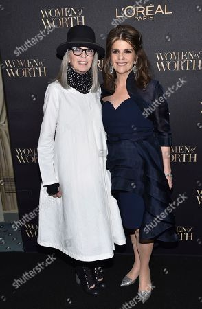 Actress Diane Keaton, left, poses with L'Oreal Paris President Karen Fondu at the 2016 L'Oreal Women of Worth Awards at The Pierre Hotel, in New York