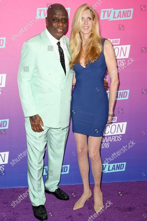 Jimmie Walker, left, and Ann Coulter arrive at the 2016 TV Land Icon Awards at Barker Hangar, in Santa Monica, Calif