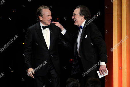 Stock Image of Warren Beatty, left, presents the career achievement award to Robert C. Jones at the 64th Annual ACE Eddie Awards,, in Beverly Hills, Calif