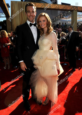 SEPTEMBER 23: James Van Der Beek (L) and Heather McComb arrive at the Academy of Television Arts & Sciences 64th Primetime Emmy Awards at Nokia Theatre L.A. Live on in Los Angeles, California