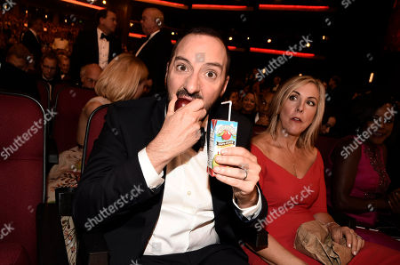 Tony Hale, left, and Martel Thompson pose in the audience at the 68th Primetime Emmy Awards, at the Microsoft Theater in Los Angeles